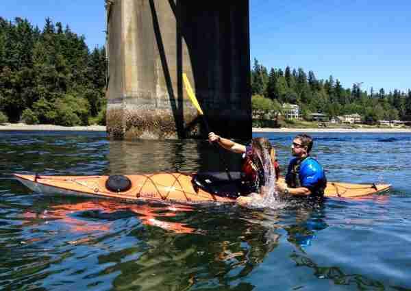 Kayaking roll class with Damon