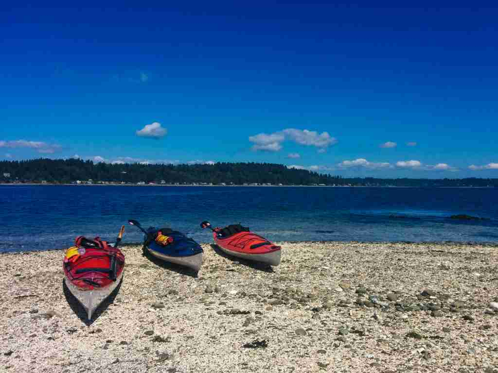 Kayaks beached on Blakely Rocks